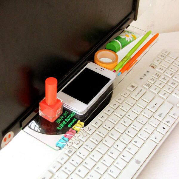 電腦桌面透明收納架 雜物 收納 顯示器 留言板貼簡約風格 整理 置物 便利貼 ♚MY COLOR♚【M011】