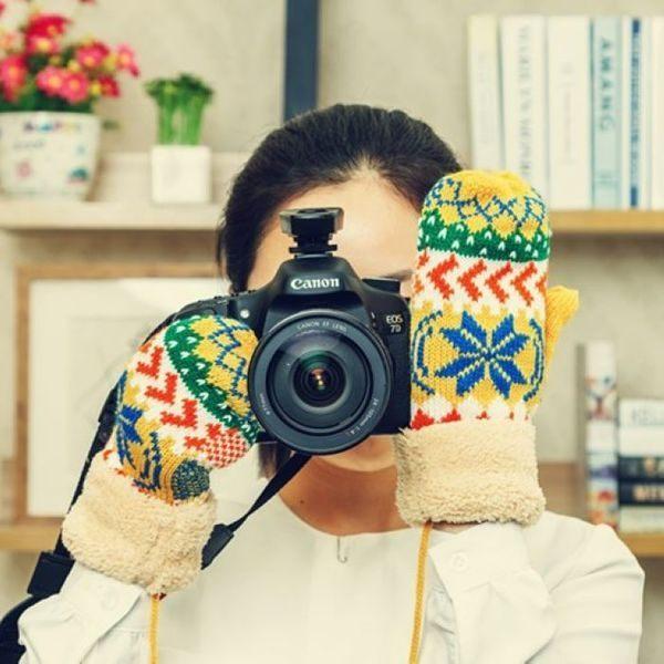 ●MYCOLOR●毛邊雪花造型無指手套保暖禦寒秋冬加厚毛線可愛毛絨雙層帶繩【F22】