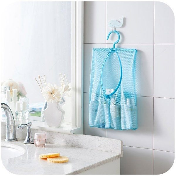 ●MY COLOR●可掛式多用途收納網袋 掛袋 透氣 置物 懸掛 曬衣 夾子 廚房 浴室 多用【L16-1】