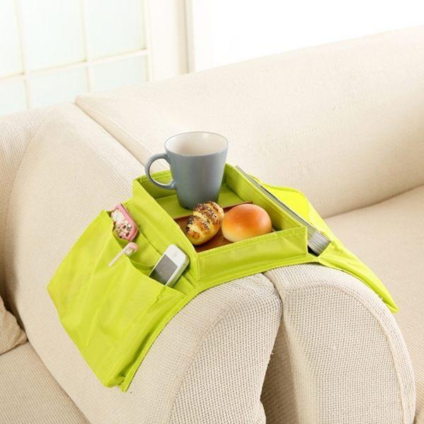●MY COLOR●創意家居韓式牛津布托盤式沙發掛袋 遙控器雜物收納整理袋 居家客廳收納袋 【Y49】