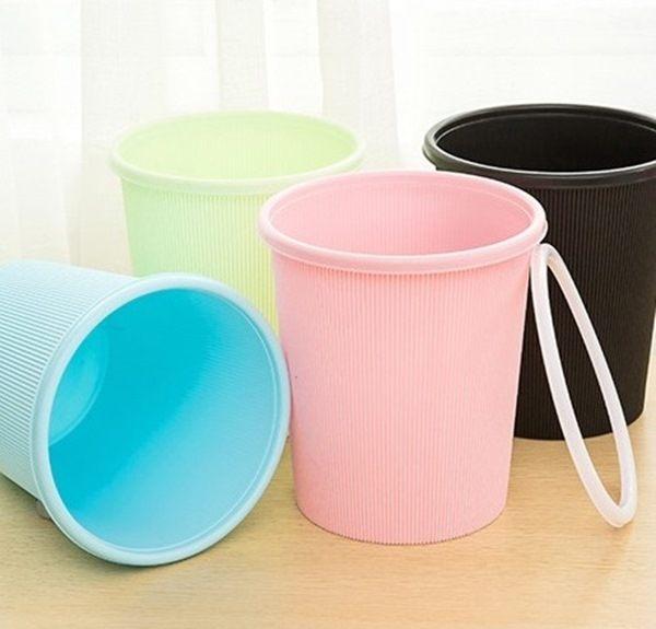 ●MYCOLOR●韓國創意帶圈垃圾桶糖果色辦公室廚房浴室回收衛生紙環保廢紙筒【A09-1】