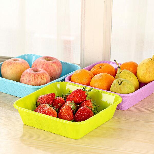 ●MY COLOR●仿編織款方形果盤 糖果色 桌面 食品 零食 收納 居家 蔬果 擺放 客廳 水果盒 【M33】
