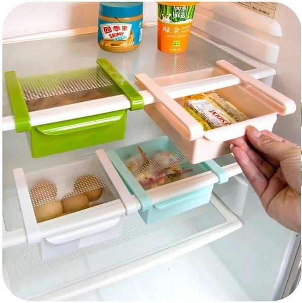●MY COLOR●隔板層整理收納架 冰箱保鮮 收納架 廚房 創意 抽動式 儲物 置物 冰箱 【Q46】
