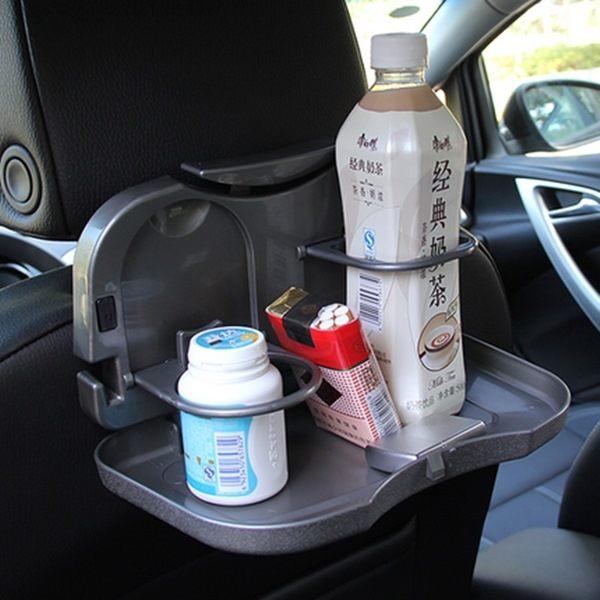●MY COLOR●車用折疊後座托盤餐盤 置物架 車載 水杯 架飲料 汽車餐台 杯托 後椅【Q52-1】