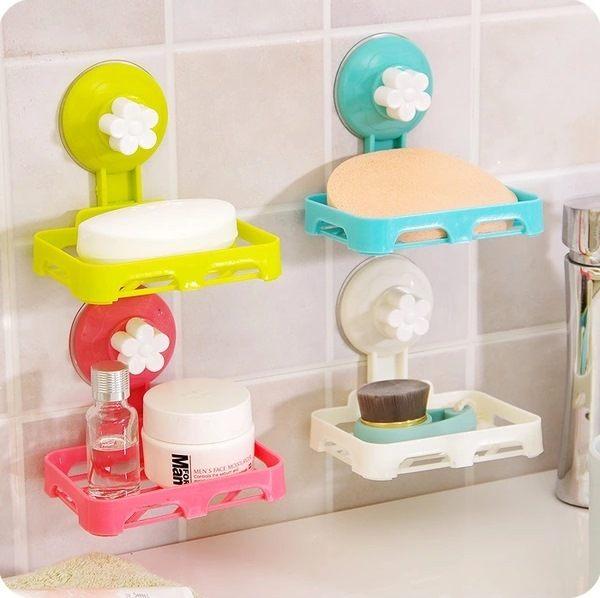 ●MY COLOR●強力吸盤花朵肥皂盒 創意 瀝水 香皂盒 吸盤 吸壁式 塑料 肥皂架 簍空【Q41】