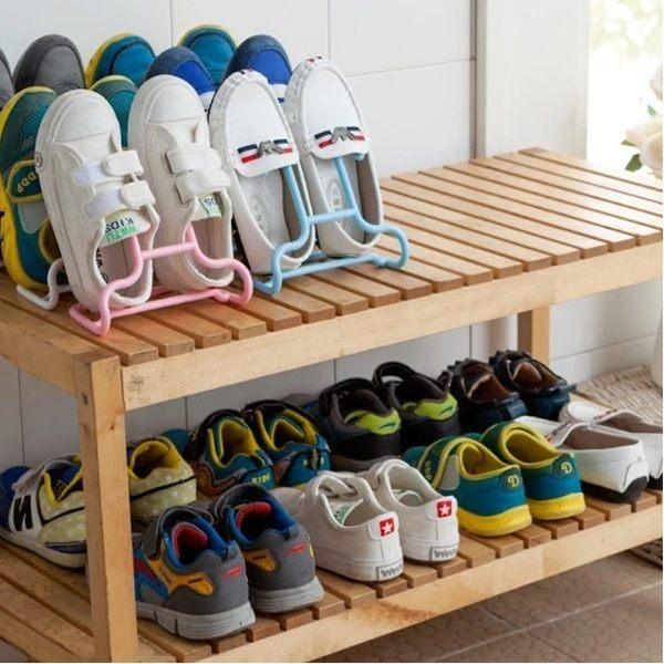 ●MY COLOR●創意二合一可立兒童鞋架 晾曬 懸掛 可掛 衣架 掛架 多用 兩入裝【Q62】