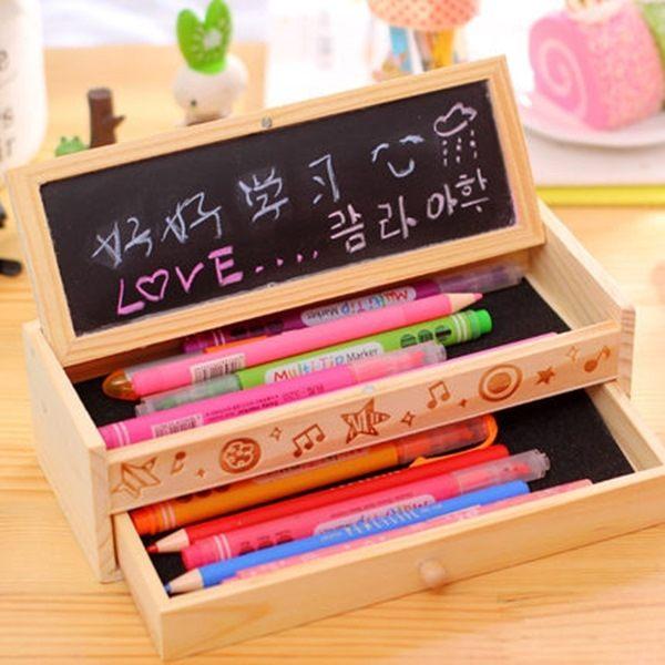 ●MY COLOR●黑板抽屜木製鉛筆盒 韓版 創意 學生 文具 鉛筆盒 雙層 兒童 禮物 學習 桌面【K63】