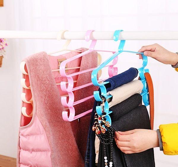 ●MY COLOR●多功能四層懸掛衣架 晾曬 毛巾架 收納架 西褲 衣櫃 領帶 皮帶 多層 塑料 【R15】