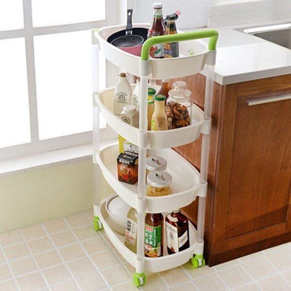 ●MY COLOR●手推式滑輪收納置物架 居家分類 廚房 衛浴 客廳 便捷 創意 整理 帶輪 (四層) 【W05-1】