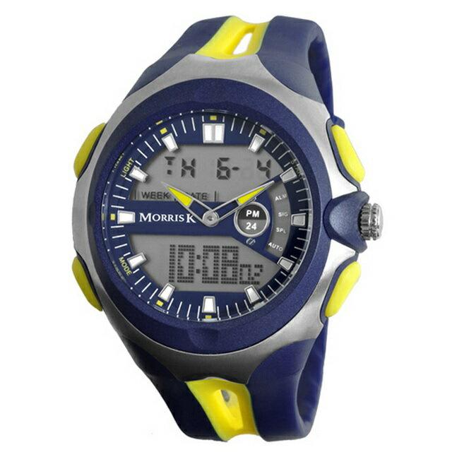 【Morris K】羅志祥代言 雙色雙顯錶 47mm大錶面 多功能 MK14089-YE