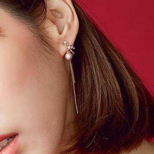 華貴綴鑽串珠~夾式 螺旋夾   針式耳環~2~17006~
