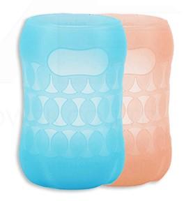 貝親 寬口玻璃奶瓶保護套160ml 粉橘/粉藍『121婦嬰用品館』