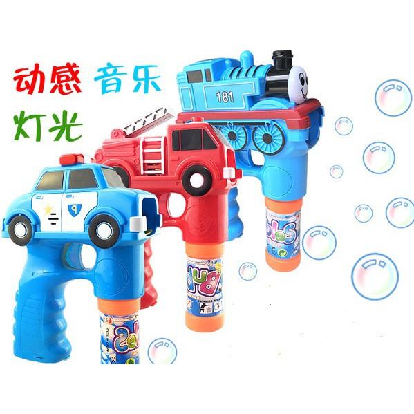 【Fun心玩】火車 消防車 泡泡槍(附泡泡水*2) 不沾手 電動 LED燈光 音樂 吹泡泡機 戶外 派對