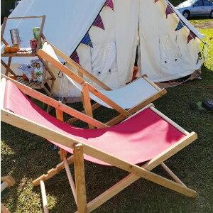 美麗大街【107031215】沙灘椅折疊實木牛津帆布椅躺椅