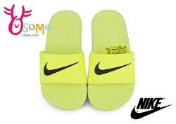NIKE兒童拖鞋 KAWA SLIDE  成人女款 防水運動拖鞋N7171#黃色  OSOME奧森鞋業
