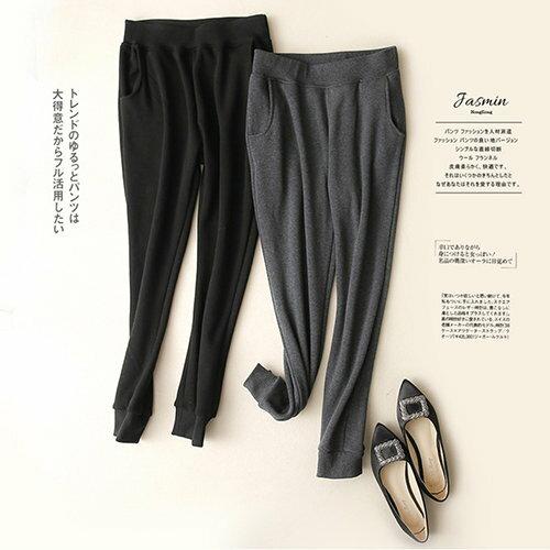 BOBI:長褲素色加絨加厚保暖運動休閒長褲【KCJ6055】BOBI1228
