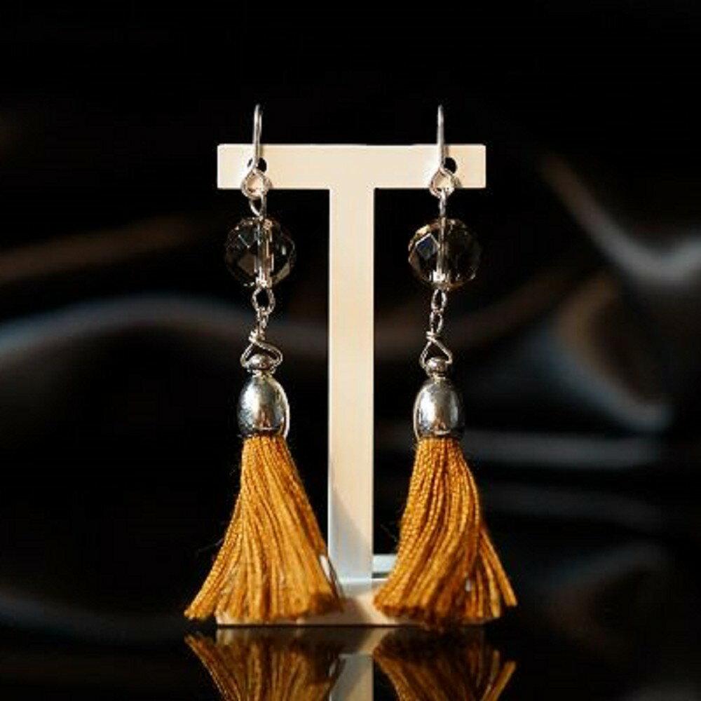 【喨喨飾品】茶水晶流蘇式耳環 純銀飾品 S343