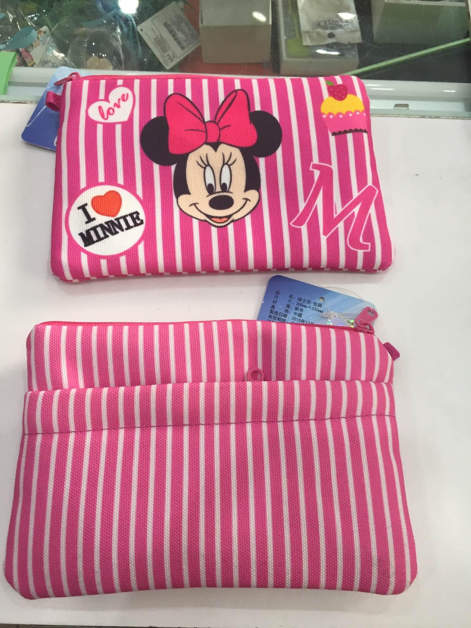 ~條紋~米妮~迪士尼 條紋系列 布包 化妝包 手拿包 零錢包 手機包 Disney