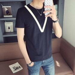 FINDSENSE H1 2018 夏季 新款 韓國 貼布 拼接  圓領 百搭 短袖 修身 T恤 潮流 時尚 男短袖