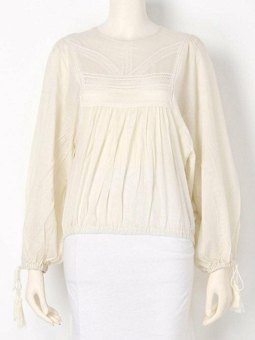 <br/><br/> SLY 圓領蕾絲 袖口束口 娃娃衫 長袖 罩衫 日本必買 日本直送 - 日本樂天時尚館<br/><br/>