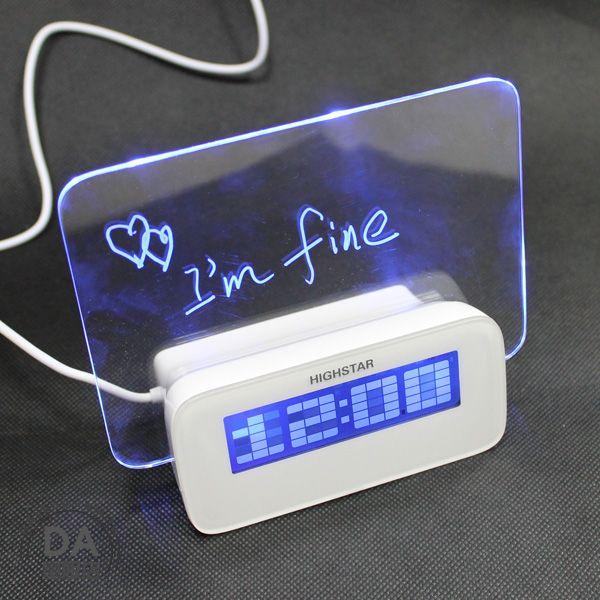 《DA量販店》樂天最低價 USB 螢光留言板 數位 電子 鬧鐘 時鐘 溫度計 附4HUB 三種供電(77-212)