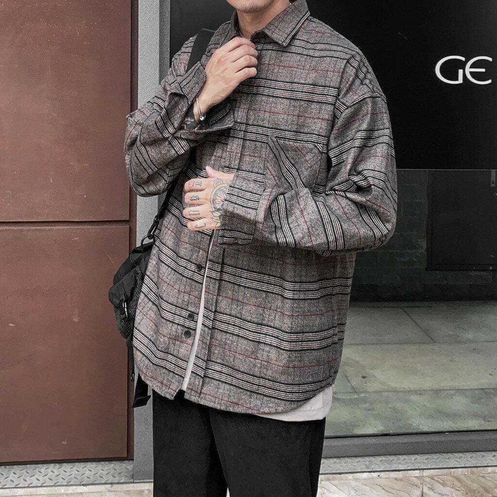 自訂款  韓國質感厚磅格紋磨毛襯衫 C68316-3