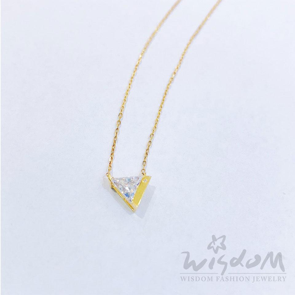 威世登時尚珠寶 幾何三角K金小套鍊 LB00210-GBXX