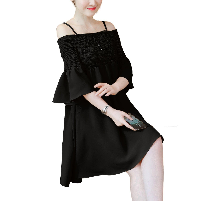 連身裙~~浪漫鬆緊裹胸壓摺吊帶露肩一字領五分喇叭袖小洋裝 黑.黃L~3L ~U556眼圈熊中大