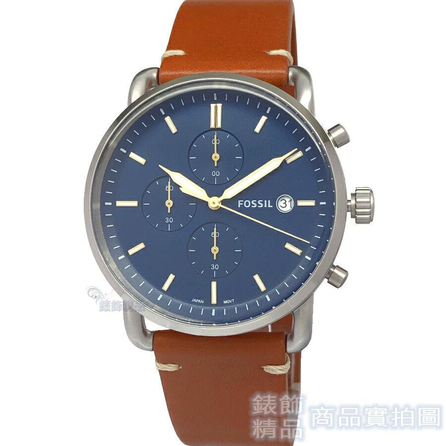 FOSSIL 手錶 FS5401 簡約優雅 藍面計時日期 駝色錶帶男錶 42mm 全新正品【錶飾精品】