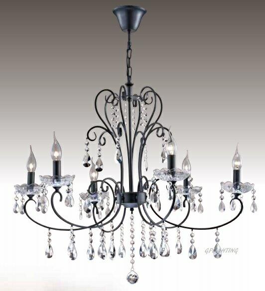 黑鋼水晶蠟燭吊燈 E14 * 6 (寬85 公分)
