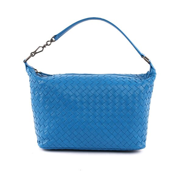 【BV/ BOTTEGA VENETA】單把小羊皮肩背手提包(小款)(鋼藍色) 239988 V0016 4390