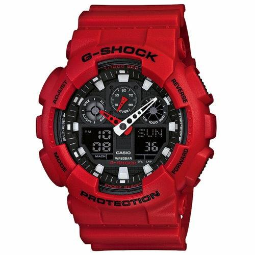 CASIO G-SHOCK/引領時尚潮流運動錶(紅/GA-100B-4ADR)