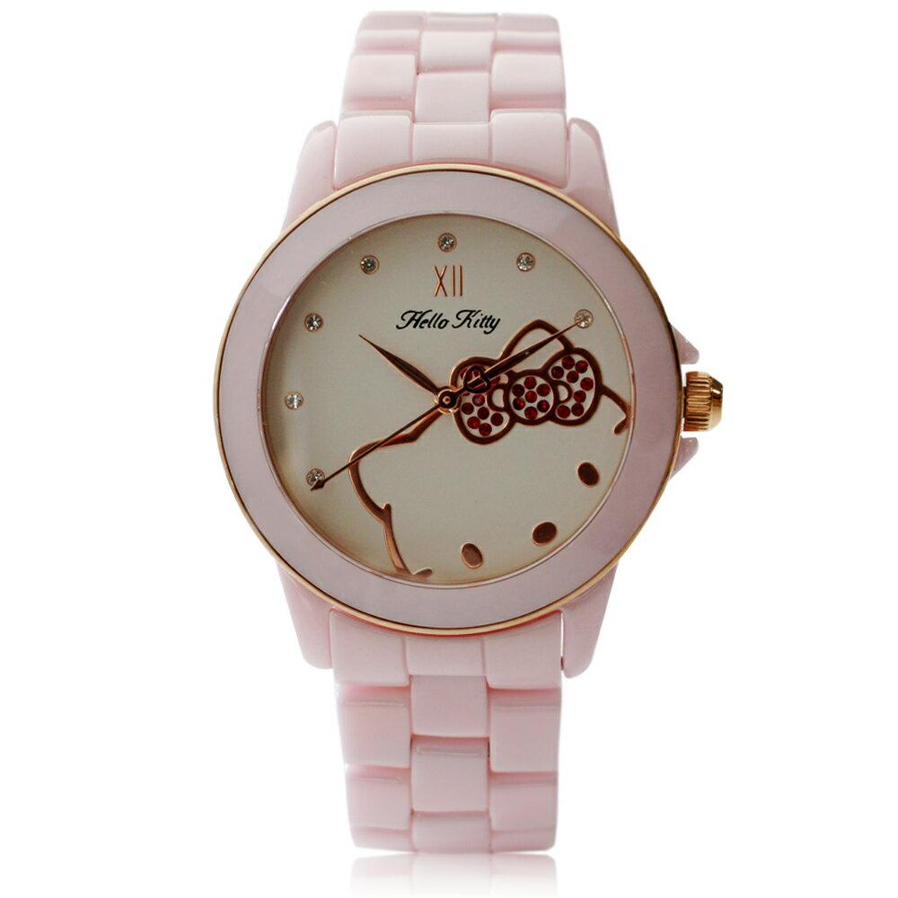 Hello Kitty LK673 三麗鷗正版授權 粉嫩色系晶鑽陶瓷石英腕錶 1