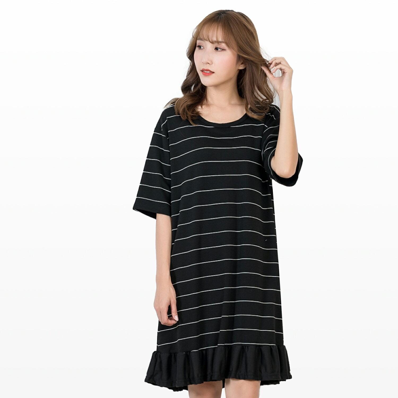 氣質洋裝--可愛氣質系條紋抽皺荷葉下襬五分袖連身裙(黑XL-5L)-D455眼圈熊中大尺碼 1