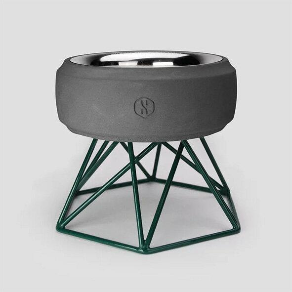 SPUTNIK 寵物碗架 Cozy Cement Bowl - 黑水泥+綠架(M1) Pet's Talk 1