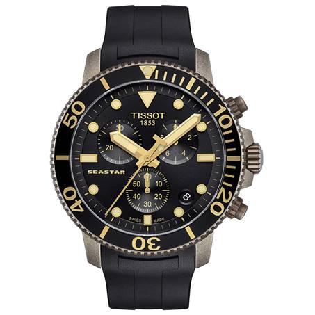 TISSOT 天梭 T1204173705101 Seastar海星300米潛水錶 黑 金 46mm 0