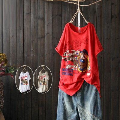 短袖T恤打底衫-可愛卡通印花休閒女上衣3色73sj37【獨家進口】【米蘭精品】