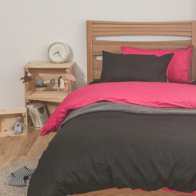 床包  /  雙人-100%精梳棉【雙色系列- 黑桃】含兩件枕套,戀家小舖,台灣製SS01-AAA201 2