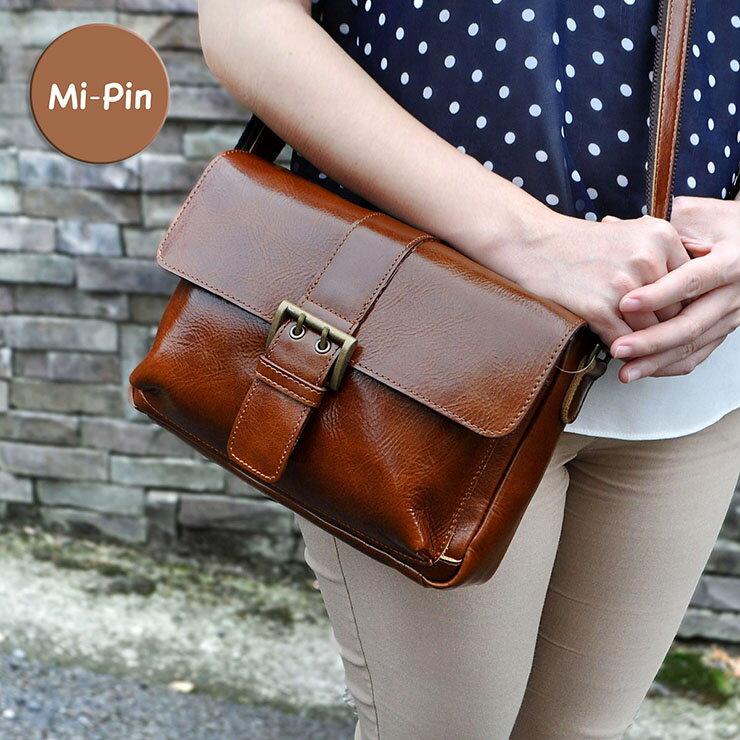 首爾設計【Mi-Pin】實用牛皮包-俐落方形釦【斜背肩背兩用】