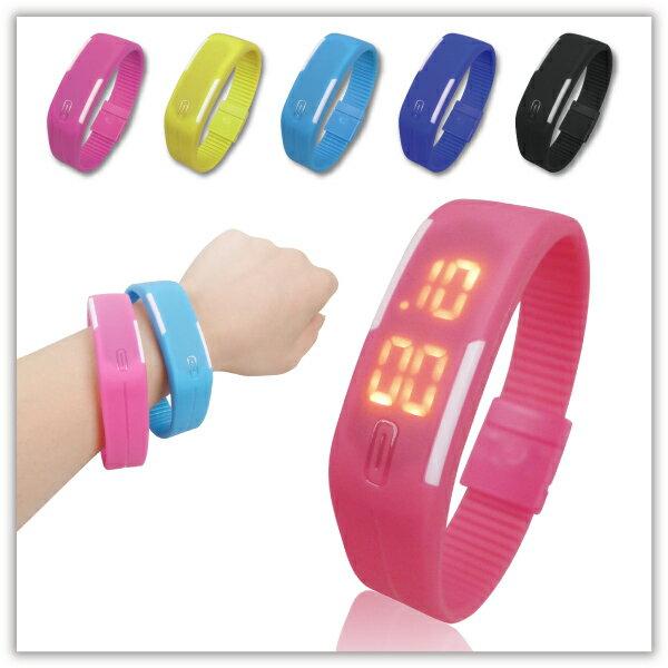 【aife life】電子矽膠運動錶/觸控電子錶/LED運動手環錶/超輕量/路跑運動/磁吸錶扣/馬卡龍電子表