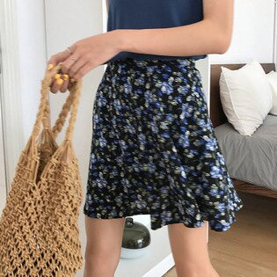 女裝高腰大擺半身短裙子後背拉鍊碎花裙褲樂天時尚館。預購。[全店免運]