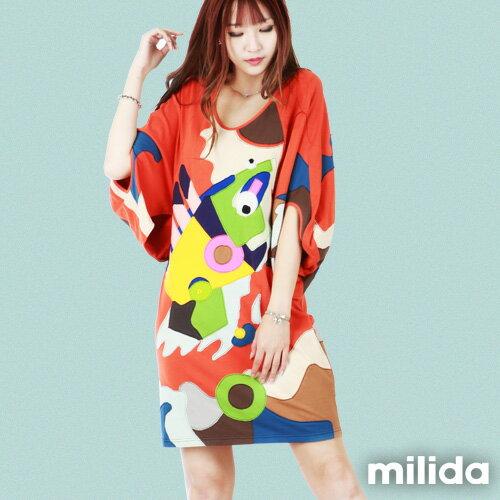 【Milida,全店七折免運】五分袖寬鬆舒適洋裝 3
