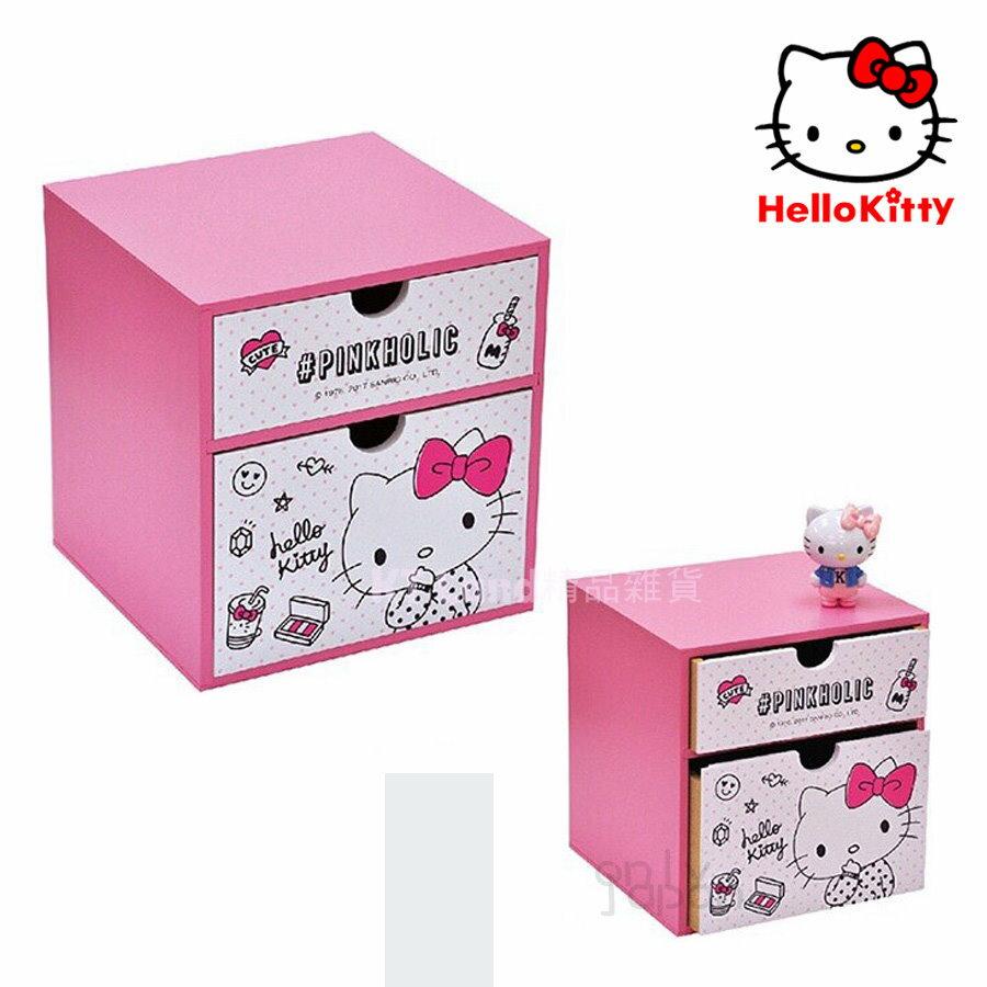 【真愛日本】18020200003 雙抽屜置物盒-PINKHOLIC桃 kitty 凱蒂貓 抽屜櫃 置物櫃 木製