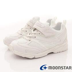 日本月星頂級競速童鞋 私校純白2E運動鞋款 MSTW011白(中大童段)