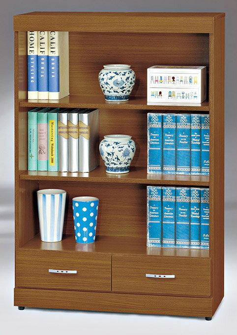 ~尚品傢俱~HY~A496~05 泰森柚木2.7X4尺二抽開放書櫃