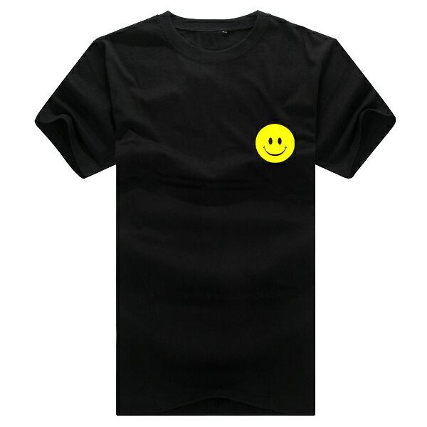 ◆快速出貨◆T恤.情侶裝.班服.MIT台灣製.獨家配對情侶裝.客製化.純棉短T.左胸簡單黃色笑臉【YC366】可單買.艾咪E舖 3