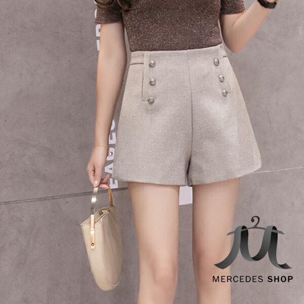 《全店75折》雙排扣高腰寬鬆顯瘦休閒短褲(S-XL,2色)-梅西蒂絲(現貨+預購)