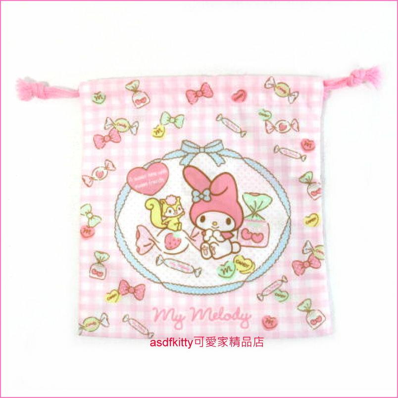 asdfkitty可愛家☆美樂蒂糖果版 束口袋16×17.5cm 收納袋/置物袋-也可當禮物袋-日本製