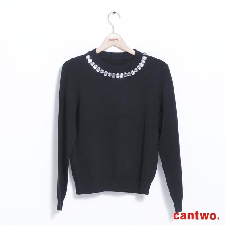 cantwo網紗包鑽圓領針織上衣(共二色) 5
