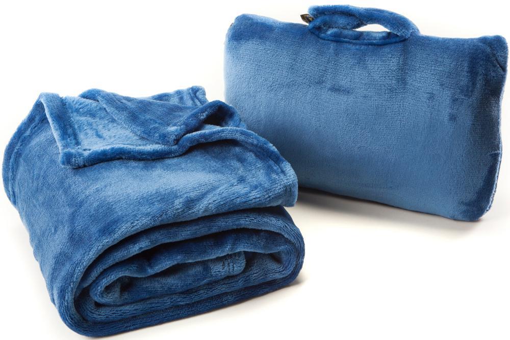 Cabeau保暖飛機毯/旅行用飛機毯/旅行毯 Fold 'n Go Blanket 藍